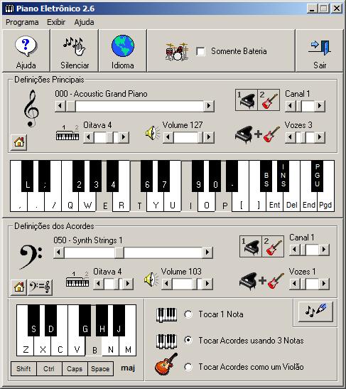 Tela principal do Piano Eletrônico 2.5
